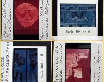 8 Vintage Glass Slides - Ancient Art - Minoan Crete Mycenae - Art History - Photo Slides - 35mm Slides - altered art supplies