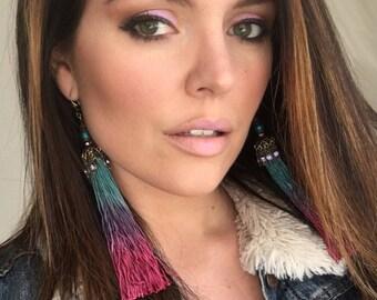 Tassel earrings, teal earrings, burgundy earrings, ombre earrings, ombre tassels, bellydance earrings, boho earrings, long earrings, blue