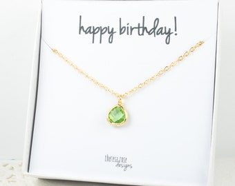 Tiny August Birthstone Gold Necklace, Peridot Gold Necklace, August Birthday Jewelry, Personalized Gold Necklace, Gifts Under 20