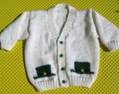 Hand Knit White Cardigan with Green Leprechaun Hats for Child