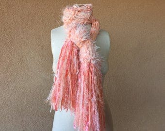 Long Scarf Peach Scarf Pastel Hand Knit Scarf. Fringed Chunky Knit Scarf, Cream and Peach Scarf, Peach and Cream Scarf