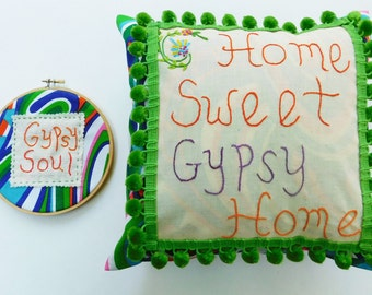 GYPSY HOME Cushion and Embroidery Hoop Art Set Hand Embroidered