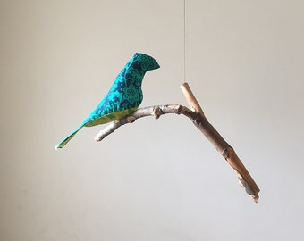 Single Bird Mobile  -  A Kinetic Beauty In Blues, Greens and Yellows