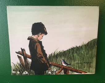 Kevin McAlpin Boy and Blue Bird  Oil On Canvas Original Painting True Vintage