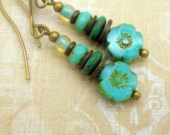 Bohemian Earrings in a Stacked Zen Style with Aqua Blue Glass Flowers