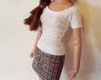 "Plaid SUMMER SKIRT for Agatha Primrose 13"" Tonner fashion body"