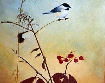 Maine Chickadee Nature Art Original Painting