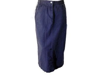 Vintage Christopher Banks Skirt//Blue Denim Maxi Skirt// High Waisted Long Pencil Skirt// Size 6// 140