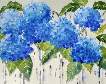 Fine Art Print of Beautiful Blue Hydrangeas-Painting of Hydrangea-Blue Hydrangeas-Floral Painting