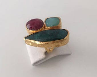 Triple Gold Chalchedony, Ruby and  Emerald ring