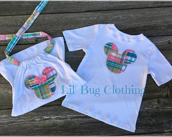 Minnie And Mickey Mouse Spring Halter Top & Tee- Brother Sister Minnie Mouse Spring Plaid Madras Tops