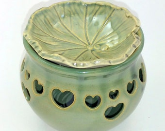 Green Votive Candle Holder or Luminary with Heart Cut-outs with Green Leaf Diffuser -  Wheel Thrown Pottery
