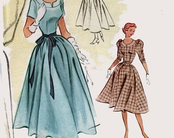Vintage 1950s Elegant Dress in Two Lengths Sleeve Variations Sewing Pattern McCalls 8761 ROCKABIILY Style Size 12 Bust 30 UC/FF