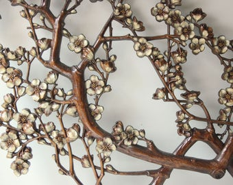 Large vintage Syroco cherry blossoms wall decor - brown and white flowers wall hanging