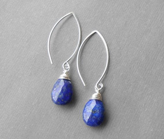 Lapis Lazuli Earrings, Sterling Silver Drop Earrings, Large Gemstone Briolette