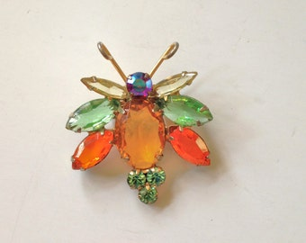 Vintage Bug Pin Rhinestone Bug Brooch 50s insect Jewelry Open back brooch