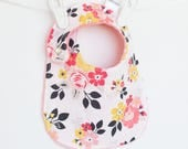 Baby Girl Bib, Adjustable Bib with Minky for Baby Toddler Girls Vintage Flowers, Vintage Daydream
