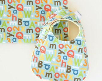 Baby Shower Gift Set Bib and Burp Cloth Baby Boy School Days Alphabet
