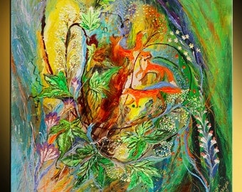 """29"""" Abstract figurative painting on canvas green yellow blue orange light thick paint wall painting Israeli art interior design wine culture"""