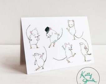 Mice Dancing Notecards - Dance Mouse Greeting Card - Mouse Mice Stationery A2 / 4.25 x 5.5 in cards set of 6