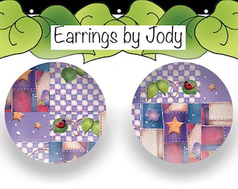 NEW Post Earrings - Purple Patchwork
