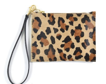 Mimi - Handmade Leopard Print Hair On Hide Leather Clutch Bag Zip Pouch Purse