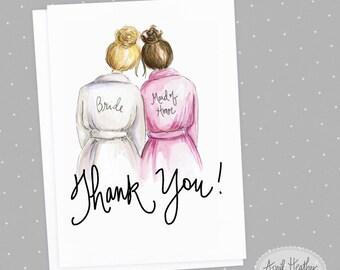 Thank you! Maid of Honor PDF Blonde Bun Bride and Brunette Bun Maid of Honor, Thank you card PDF printable card