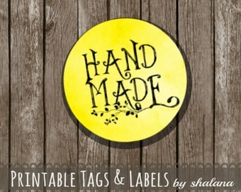 "Printable PDF 1.5 inch Circle Labels - Whimsical ""Hand Made"" Text on YELLOW Watercolor Style Background - Great for Craft Shows and Gifts"