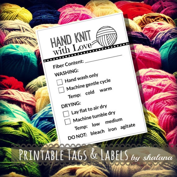 Care instruction printable pdf cards for knitters quothand for Hand knit with love labels