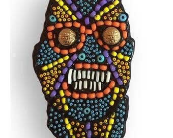 Folk Art Beaded Man Monster Reptile Portrait Contemporary Wall Art Assemblage