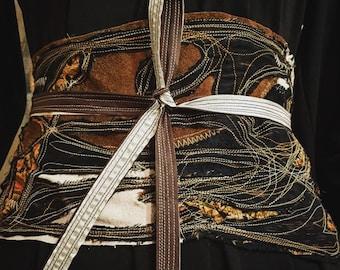 Ancestry Cloth Obi Belt #17 - One of a Kind Wearable Fine Art by Dawn Patel Art, bohemian gypsy chic wear, festival artwear, nomad wear