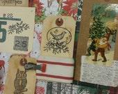 RESERVED ~ Christmas Woodland paper ephemera. art journal kit. vintage.naturalistic. winter.hand stamped tags.old postcards.ribbon.70 pcs