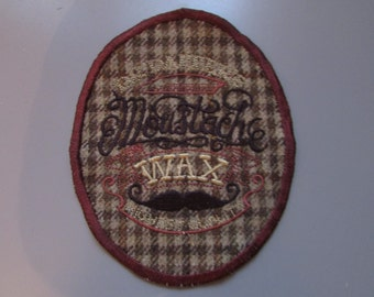 Dr Dappers Moustache Wax Tweed Sew on Patch  Applique Steampunk
