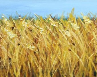 Wheat painting 43 12x36 inch oil painting by Roz