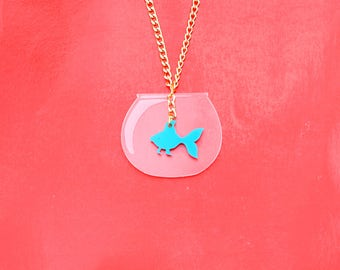Turquoise Fish Necklace, Fish Bowl Kawaii Necklace, Mini Aquarium Necklace, Fish Charm Necklace, Fish Necklace, Fish Bowl Necklace