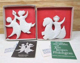 Vintage Haviland White Porcelain Christmas Ornament Set Lot Jean Jacques Prolongeau Signed 1970s