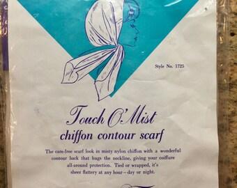 1960s Chiffon Head Scarf Mint in Package