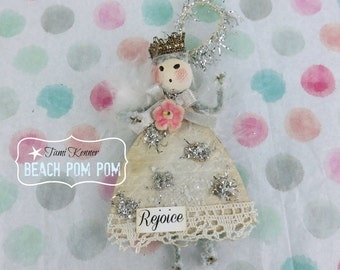 CHRISTMAS shabby ornament vintage inspired Angel