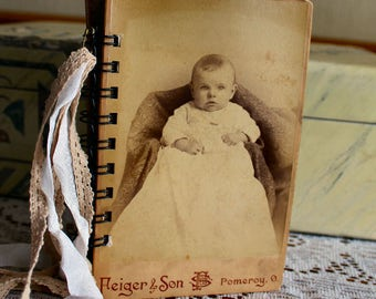 Sweet Baby Cabinet Card Journal with water color paper, vintage laces and sari ribbons
