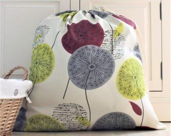 Large Drawsting Laundry Bag in Abstract Dandelion Clock Fabric - Travel, Shoe Bag, Lingerie Bag