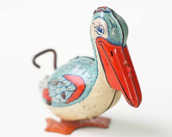 Vintage Pelican Toy, J Chein Wind Up