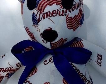 US Flag Bear Handmade Patriotic Bear Custom order available Read entire description before ordering