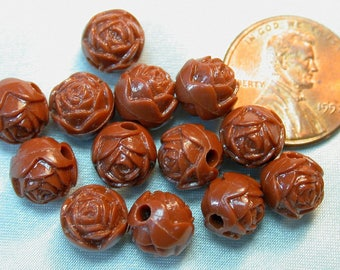 Vintage LUCITE FLOWER beads Chocolate BROWN Roses 9mm pkg12 res129