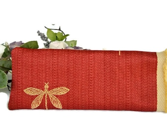 Dragonfly Soft Eyeglass Case , Rust Reading/Eyeglasses Sleeve , Gift for Her , Womens Gift Under 15