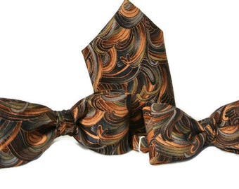 Mens Brown Bow Tie Set  , Groomsmen Bowtie and Handkerchief Gift , Suit Necktie , Wedding Tie Pocket Square