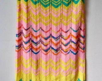 Knit Colorful and Bright Chevron Baby Blanket Rainbow Green and Yellow