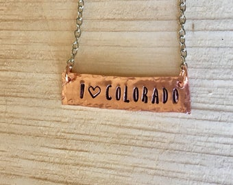 Colorado copper necklace hand cut and stamped metal work just plain Jane designer fun fresh Totally Hammered