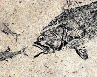 GYOTAKU fish Rubbing Largemouth Bass and Minnows 8.5 X 11 quality Art Print Cottage Decor by artist Barry Singer