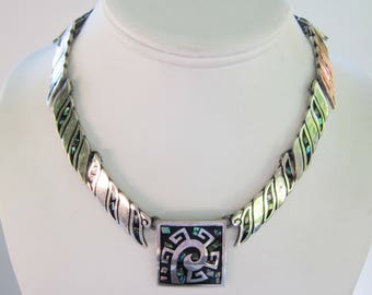 Taxco Mexico Sterling Silver and Inlay Abalone Link Collar Necklace  - 82 grams -   1497 B