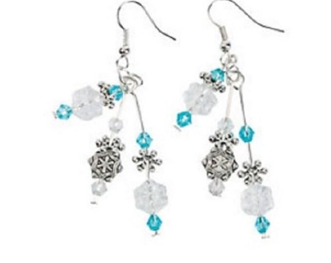 Snowflake Beaded Drop Earrings